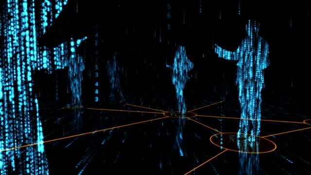 vídeos de stock, filmes e b-roll de dados silouhettes - código binário