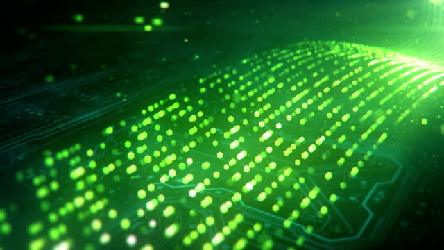 data stream and circuit board (green) - loop - flowing stock videos & royalty-free footage