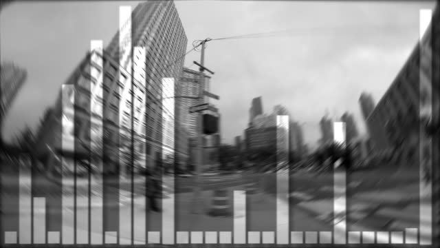 data stream numbers background. financial business growth concept. city time lapse scenery