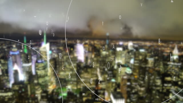 data stream of numbers animated over city background. digital revolution concept. global networking idea - digital enhancement stock videos and b-roll footage
