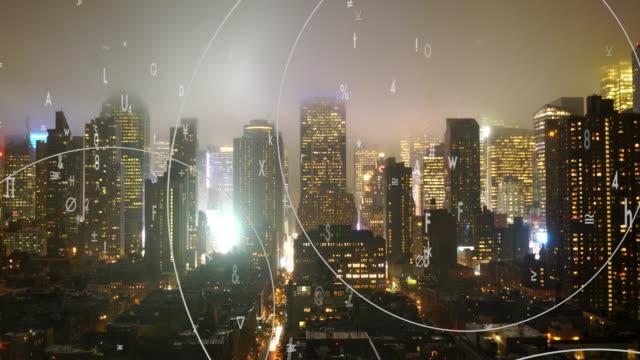 vídeos y material grabado en eventos de stock de data stream of numbers animated over city background. digital revolution concept. global networking idea - aumento digital