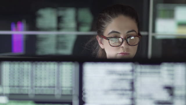 data woman monitors - safety stock videos & royalty-free footage