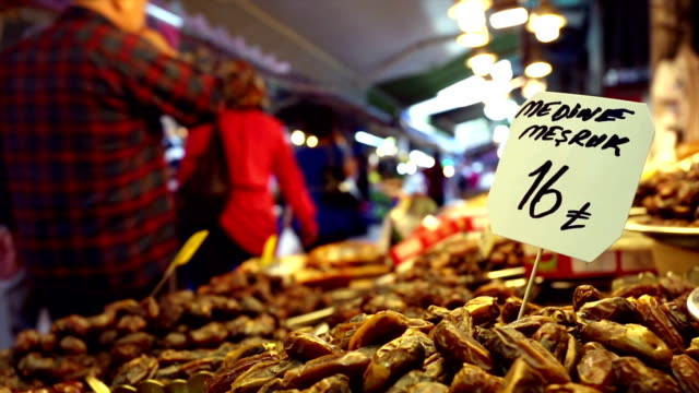 date fruit stall on turkish street market - agricultural fair stock videos and b-roll footage