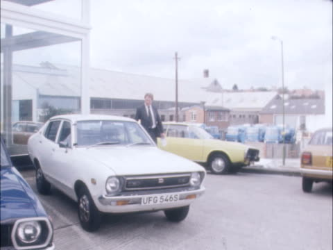 datsun car import restrictions this story is held on film and cannot be restored from the dam 'this garage in brightondealer' ms 'datsun' gv peter... - car showroom stock videos & royalty-free footage