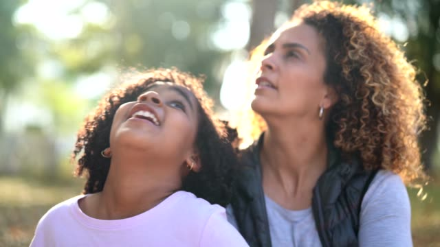 Daughter and Mother Contemplation - Looking Up