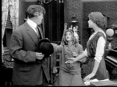 1913 ms b&w daughter asking to go with father/ father taking daughter against mother's wishes - 1913 stock videos & royalty-free footage