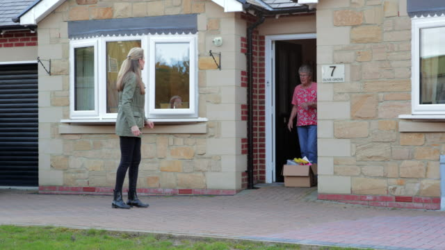 daughter giving her mother essential supplies during quarantine - non us film location stock videos & royalty-free footage