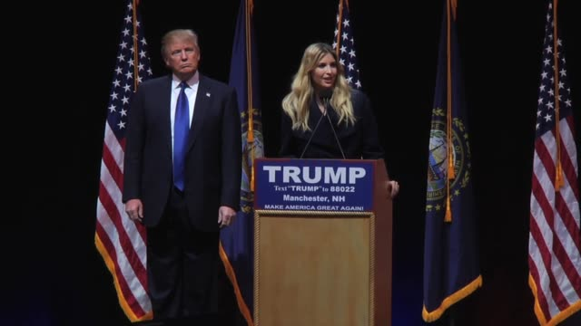 daughter ivanka trump speaks in new hampshire at her father's rally - 2016 stock-videos und b-roll-filmmaterial