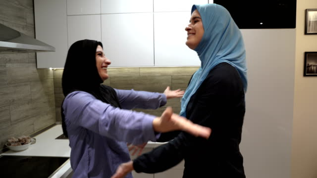 daughter tells mother good news - middle eastern culture stock videos & royalty-free footage