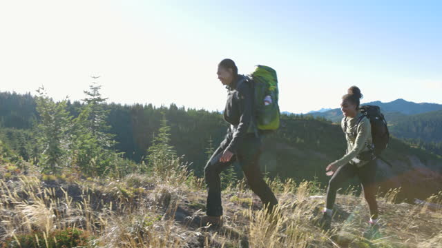 pan ms daughters and father hiking on ridge during backpacking trip - single father stock videos & royalty-free footage
