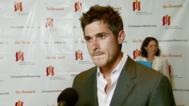 dave annable on being at the gala for the first time supporting the cause and on the success of 'brothers and sisters' and the upcoming season at the... - christopher and dana reeve foundation stock videos and b-roll footage