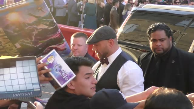 dave bautista arriving to the guardians of the galaxy 2 premiere at dolby theatre in hollywood in celebrity sightings in los angeles, - the dolby theatre stock videos & royalty-free footage