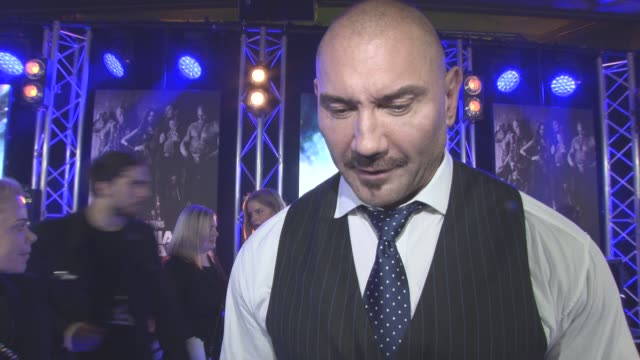 INTERVIEW Dave Bautista on being the comedians of the marvel world making people laugh Baby Groot being the star of the film at The European Gala of...