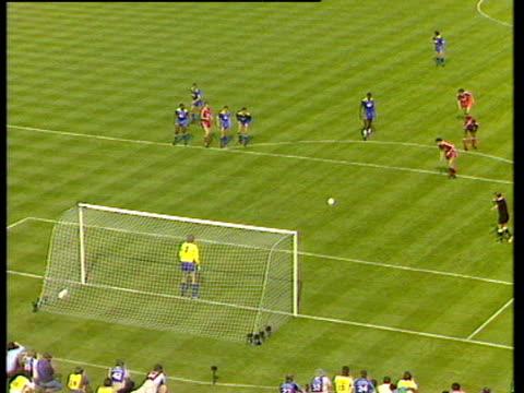 dave beasant dives low to his left saving john aldridge's penalty, liverpool vs wimbledon, 1988 fa cup final, wembley - goalkeeper stock videos & royalty-free footage