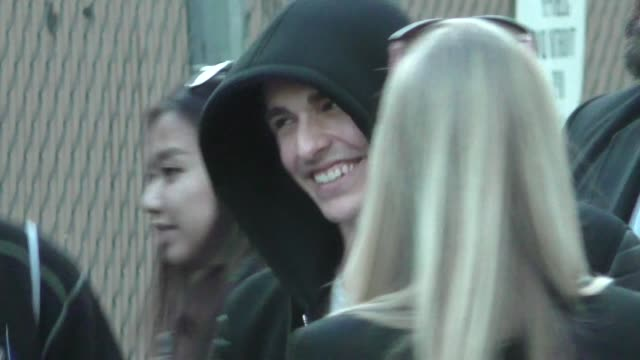stockvideo's en b-roll-footage met dave franco greets fans outside jimmy kimmel live at el capitan theater in hollywood in celebrity sightings in los angeles - el capitan theater