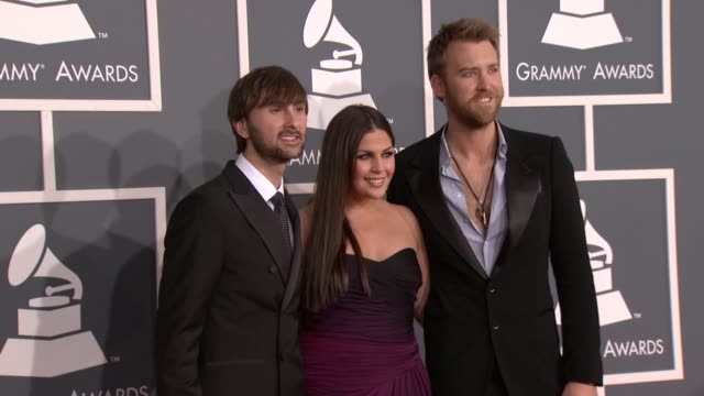 Dave Haywood Hillary Scott and Charles Kelley of Lady Antebellum at 54th Annual GRAMMY Awards Arrivals on 2/12/12 in Los Angeles CA