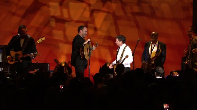 performance dave matthews michael j fox at 2016 a funny thing happened on the way to cure parkinson's at waldorf astoria hotel on november 12 2016 in... - michael j. fox stock videos and b-roll footage