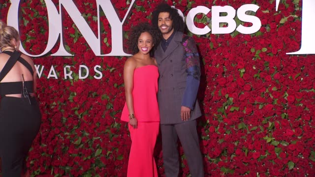 daveed diggs and jalene goodwin at 2016 tony awards red carpet at the beacon theatre on june 12 2016 in new york city - 70th annual tony awards stock videos and b-roll footage