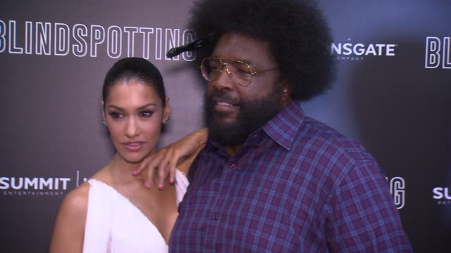 Daveed Diggs Questlove and Janina Gavankar at the Blindspotting New York Premiere at Angelika Film Center on July 16 2018 in New York City