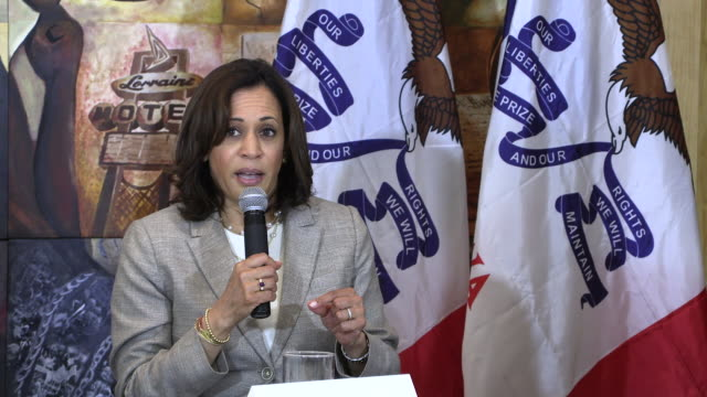 united states senator from california kamala harris addresses trump's twitter comments that are being called racist as she campaigns for the... - united states presidential election stock videos & royalty-free footage