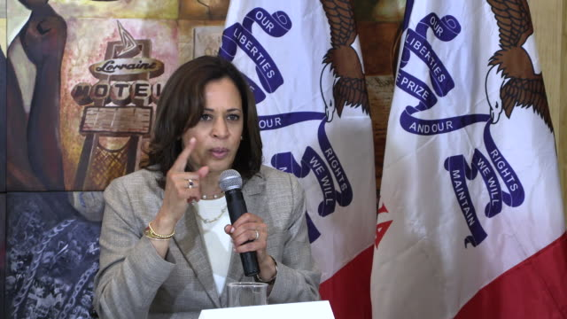united states senator from california kamala harris addresses trump's twitter comments about women of color who are in congress as she campaigns for... - united states presidential election stock videos & royalty-free footage