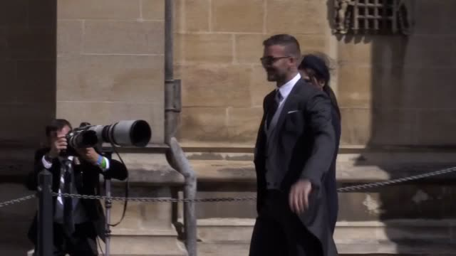 david and victoria beckham arrive at st george's chapel in windsor for the royal wedding of prince harry and meghan markle - st. george's chapel stock videos and b-roll footage