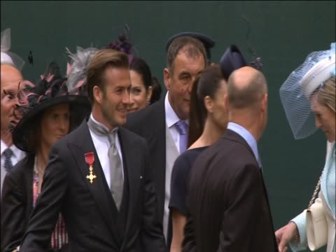 David and Victoria Beckham arrive at the Royal Wedding of Prince William and Catherine Middleton