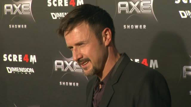 vídeos y material grabado en eventos de stock de david arquette at the axe shower presents the world premiere of 'scream 4' at hollywood ca. - scream named work