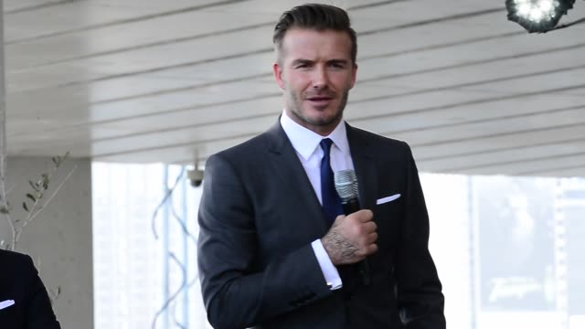 david beckham announces plans to launch a new major league soccer franchise in celebrity sightings in miami - major league soccer stock videos and b-roll footage