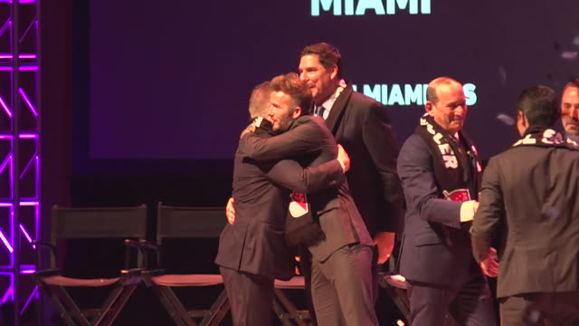 david beckham at the launch of his new miamibased mls franchise - major league soccer stock videos and b-roll footage