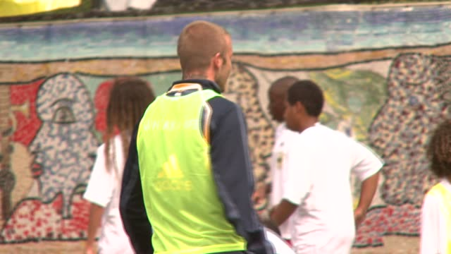 David Beckham at the Youth Soccer Clinic at Jacob H Schiff Playground in New York New York on August 18 2007