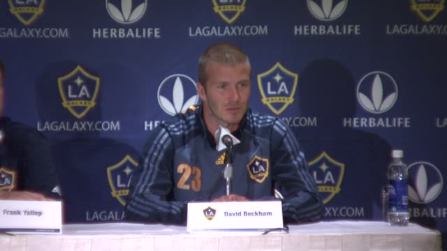 david beckham discusses feeling a little tired being ready for the game against the new york red bulls being frustrated with his injury and... - new york red bulls stock videos and b-roll footage