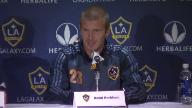 david beckham discusses how much homework he has done on mls teams enjoying the learning process and being an ambassador of the league and the sport... - major league soccer stock videos and b-roll footage
