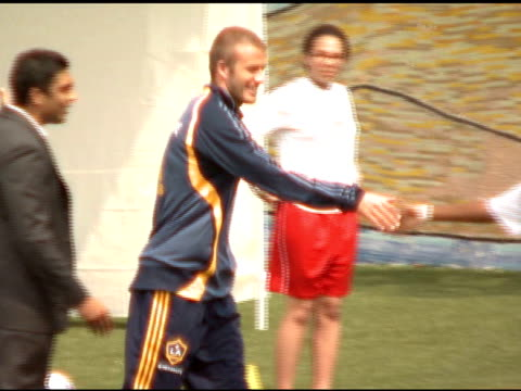 david beckham joins new york red bulls forwards juan pablo angel and jozy altidore at youth soccer clinic new york ca 8/18/07 in hollywood california... - new york red bulls stock videos and b-roll footage