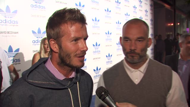 David Beckham on who he would most like to dress at the David Beckham And James Bond Launch adidas Originals By Originals Line at Los Angeles CA