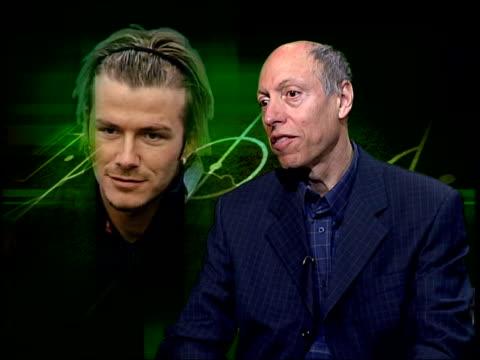 david beckham transfer speculation itn london alex fynn interview sot he is akin to other stars of real who are like film stars/ he would be of good... - 2003 bildbanksvideor och videomaterial från bakom kulisserna