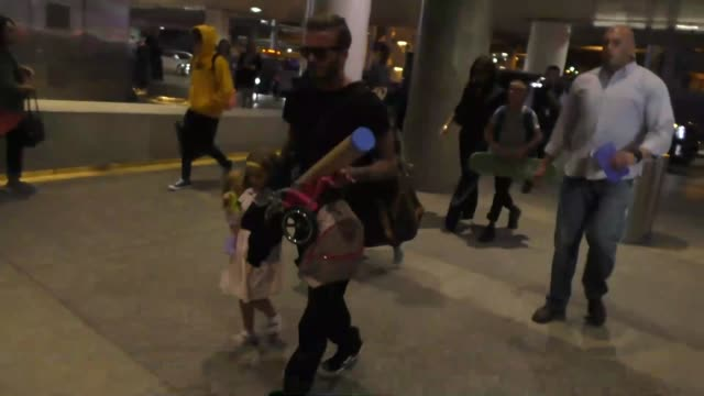 David Beckham Victoria Beckham and kids departing at LAX Airport in Los Angeles in Celebrity Sightings in Los Angeles