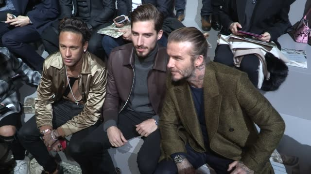 David Beckham Victoria Beckham and their son Brooklyn Beckham PSG Soccer superstar Neymar and Kevin Trapp at the Louis Vuitton Menswear Fall Winter...