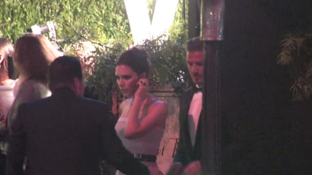 david beckham victoria beckham arrive at the 2012 vanity fair oscar party in west hollywood ca 02/26/12 - oscar party stock-videos und b-roll-filmmaterial