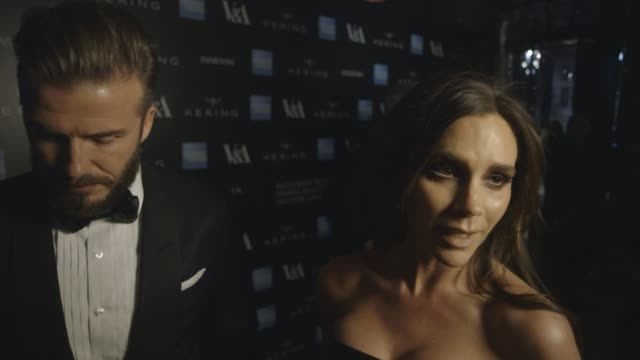interview david beckham victoria beckham on the exhibition being at the va on alexander mcqueen at alexander mcqueen savage beauty fashion gala at... - victoria and albert museum london stock videos & royalty-free footage