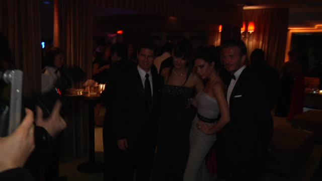 David Beckham Victoria Beckham Tom Cruise and Katie Holmes at the 2012 Vanity Fair Oscar Party Hosted By Graydon Carter Inside Party at West...