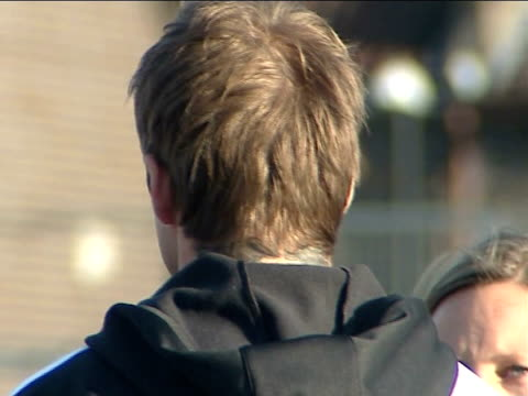 david beckham visit to bristol school more of beckham chatting to teachers including close up on his tracksuit bottoms and trainers - tracksuit bottoms stock videos & royalty-free footage