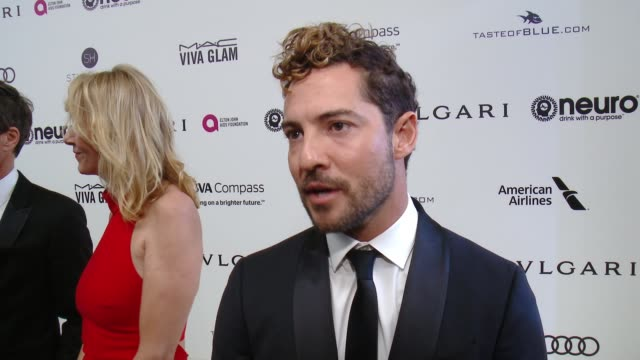 INTERVIEW David Bisbal on the event at 25th Annual Elton John AIDS Foundation's Academy Awards Viewing Party in Los Angeles CA