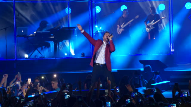 david bisbal performs in concert for his 'hijos del mar' tour at the palau sant jordi on june 16 2017 in barcelona spain - evento in diretta video stock e b–roll