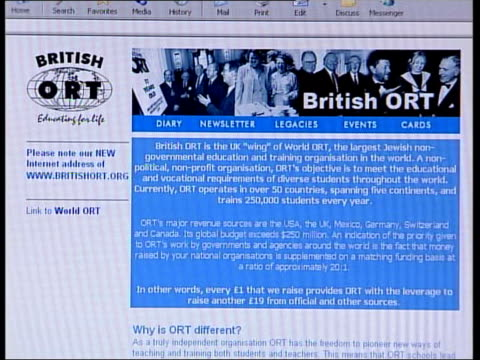 david blunkett controversy over jobs taken out of office london computer screen showing website belonging to 'british ort' jewish educational charity... - religioni e filosofie video stock e b–roll