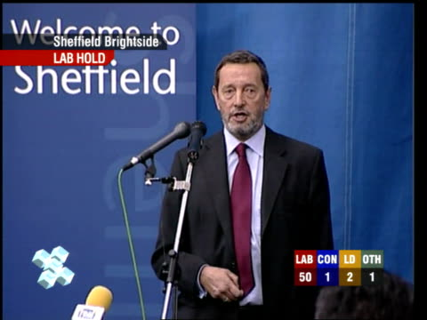 david blunkett mp speech sot - gives thanks to opponents with the exception of the bnp / talks of lessons to be learned from a substantially reduced... - david dimbleby stock videos & royalty-free footage