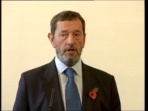 david blunkett resigns as work & pensions secretary: day's events; int david blunkett mp press conference sot - tony asked me to stay/ it became... - david blunkett stock videos & royalty-free footage