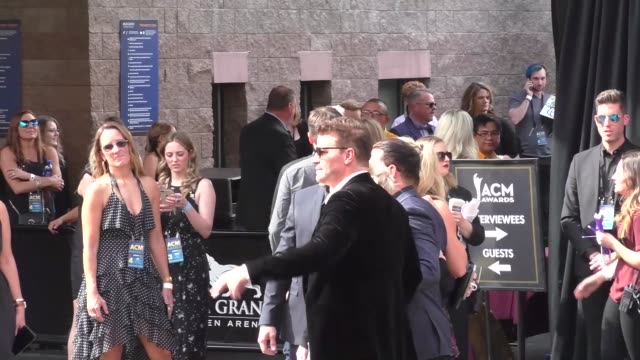 David Boreanaz Max Thieriot AJ Buckley greets fans at the 53rd Academy Of Country Music at MGM Grand Garden Arena in Celebrity Sightings in Las Vegas