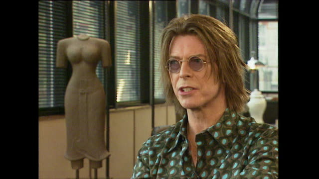 david bowie comments on uk creativity saying 'we have always been good at musiceverything that we do in rock and roll has a sense of irony to it' - kunst, kultur und unterhaltung stock-videos und b-roll-filmmaterial
