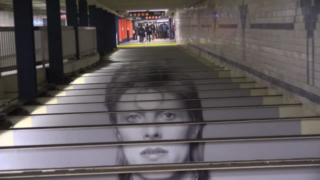 David Bowie photographs and optical illusions at New York subway station Lafayette and Broadway